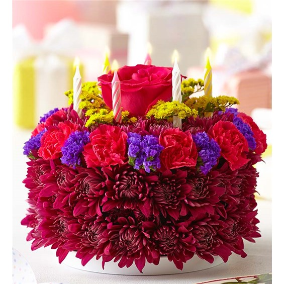 1800FLOWERS BIRTHDAY FLOWER CAKE PURPLE Miss Daisys Flowers