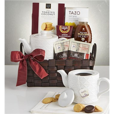 Wintry Warmer Holiday Tea Gift Basket With Teapot. 162971x
